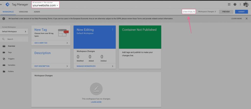 Copy mã ID của Google Tag Manager
