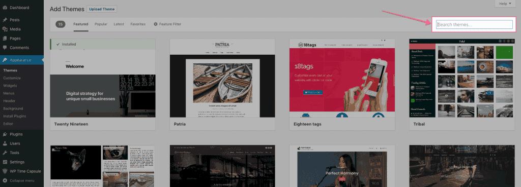 Thêm theme bên trong WordPress Dashboard
