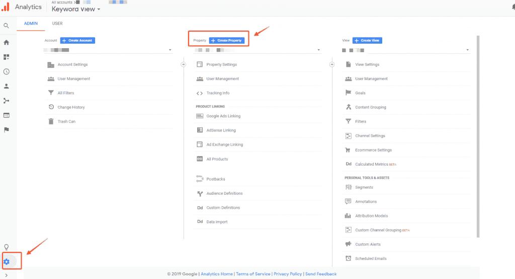 Vào setting Google Analytics
