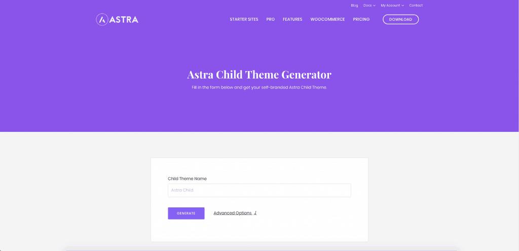 Astra child theme generator