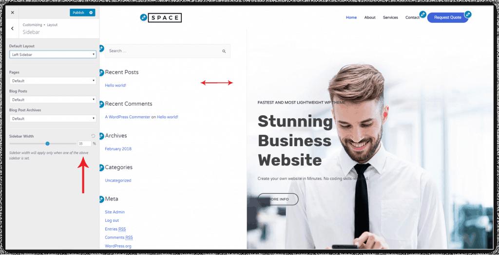 Tuỳ chỉnh bề rộng Sidebar trong Customize