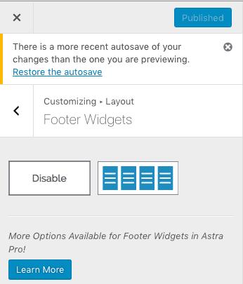 Footer Widget Astra