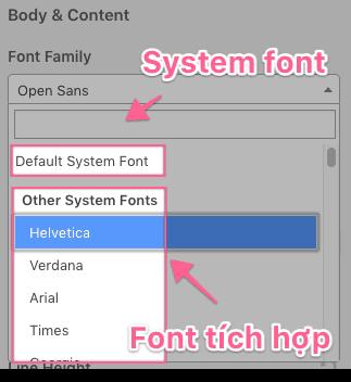 system font có thể tăng tốc độ tải trang website