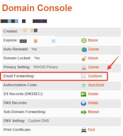 Vao Email Forwarding Configure