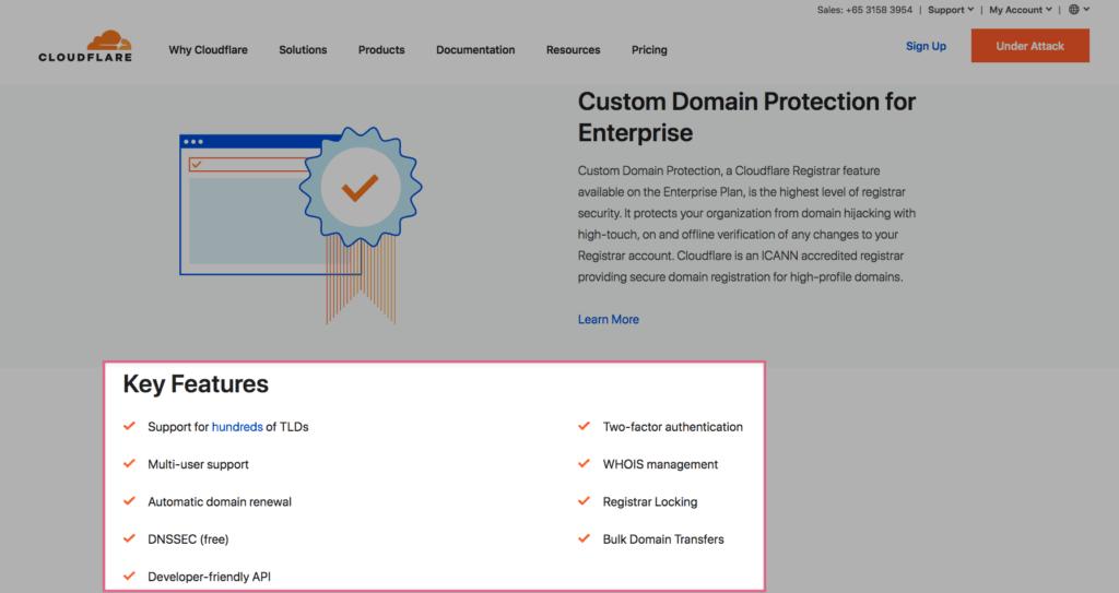 Tính năng Cloudflare Registra